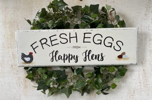 """Chicken Coop Sign, """"Fresh Eggs From Happy Hens""""~Chicken Decor~Country Decor-Backyard Chickens~Chicken Wood Sign"""