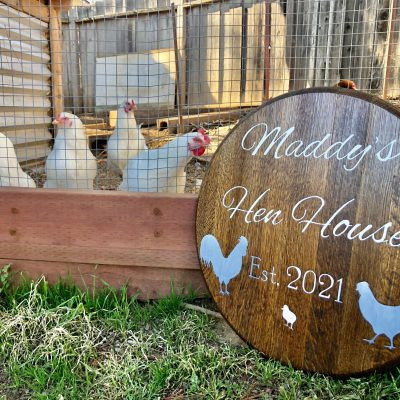 Chicken Coop Sign - Personalized Barrel Head Custom Top Wall Hang Farmhouse Décor