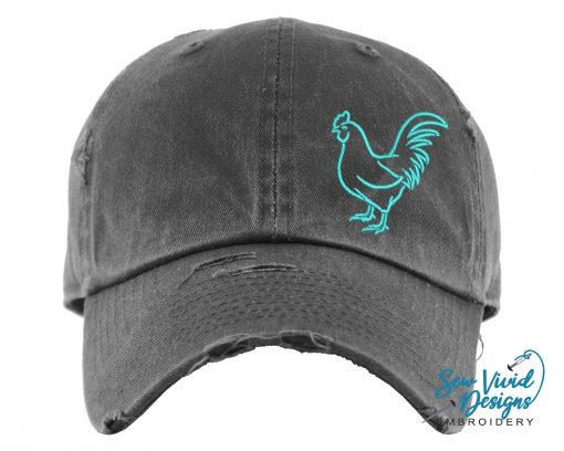 Chicken Hat | Distressed Baseball Cap Or Ponytail Custom Farm Animal Lover Gift Coop Gifts