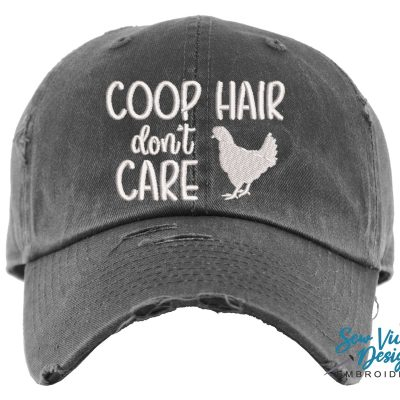 Coop Hair Don't Care Hat | Distressed Baseball Cap Or Ponytail Chicken Birthday Gift Lover Gifts