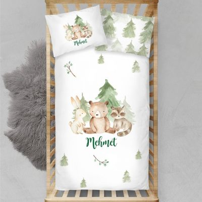 Custom Woodland Animals Duvet Cover Toddler Twin Baby Boy Bedding Set Personalized