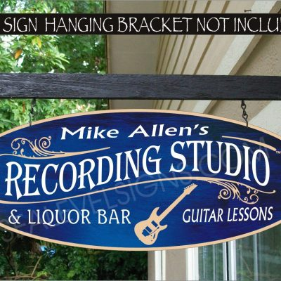 Electric Guitar Player Lessons Music Studio Man Cave Gift Custom Personalized Painted Signs
