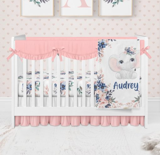 Elephant Crib Bedding, Floral Sheet, Baby Girl Nursery, Bedding Set Girl, Blanket, Personalized Fitted Sheet
