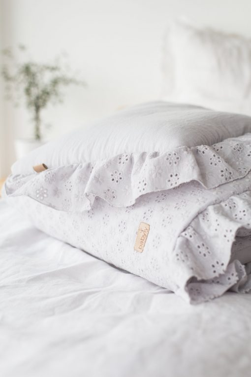 Embroidery Baby Bedding Set With Filling & Flounce Gray | Gots