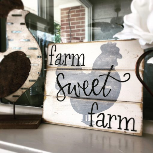 Farm Sweet Farm, Farm Sign, Chicken Coop Kitchen Farmhouse Signs, Wood Signs Sayings, Rooster Sign
