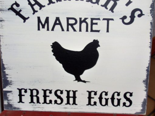 Farmer's Market Fresh Eggs Wood Vinyl Sign Farmhouse Distressed Wall Decor Kitchen Porch Chick Chicken Hen Silhouette Rustic Coop