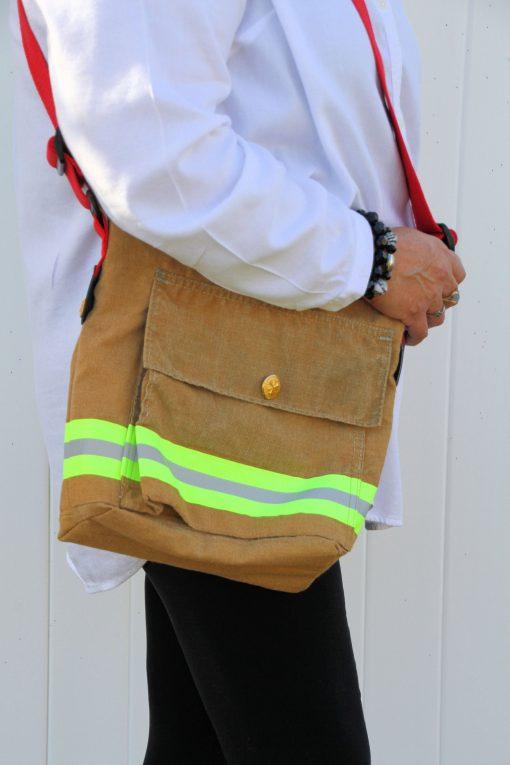 """Firefighter Turnout Gear Bag, The """"Suspender""""Bag, Bunker Purse, Messenger, Carryall, Computer Bag"""