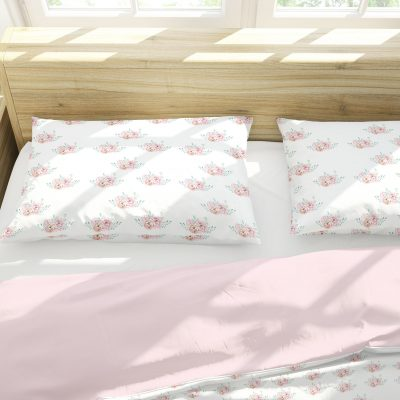 Floral Bedding Set Pink, White Soft Cotton Duvet Cover Set, Twin Full Queen King, Sets