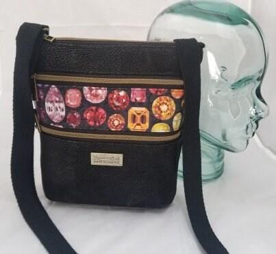 "Jewel, Tripple Zip Crossbody Bag, 10"" X 9"" 2.5"", Purse"
