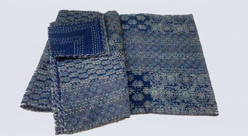 King Size Quilt, Handblock Handmade Blockprint Kantha Quilt, Indigo Quilt, Blanket, Quilt, Queen Size Quilt, Patchwork Blanket Quilt Throw