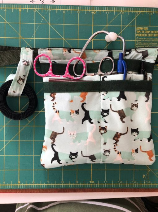 Large Belted Nurse Vet Tech Scrub Pocket Utility Belt With Zipper. Tape Holder, Swivel Hook & Pockets in Cats Scrubs Fabric