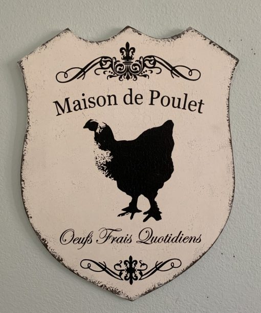 Large Distressed White With Black Text Wooden Sign ~ French Maison De Poulet Chicken House Oeufs Frais Quotidiens Daily Fresh Eggs
