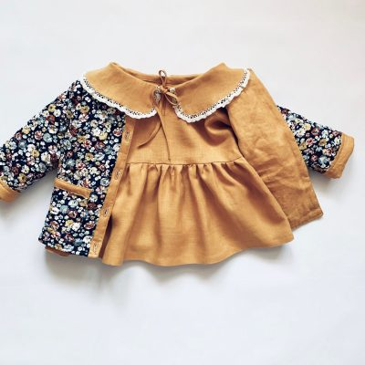 Linen Baby Coat With Pockets Organic Kids Cloth Autumn For Girl Jacket Vintage