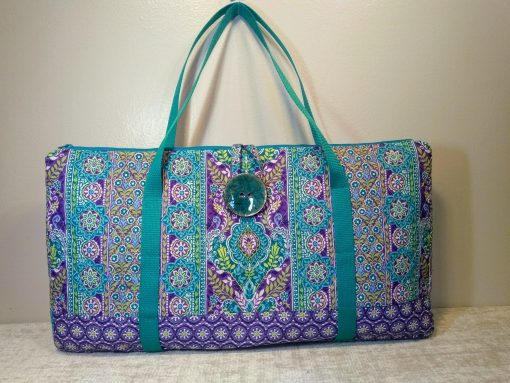 """Mahjong Tote Bag in Quilted Cotton With Button & Loop Closure-""""West Wind"""" Style - Free Shipping"""