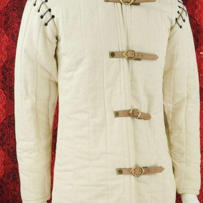 Medieval Thick Padded White Gambeson With Removable Sleeves Jacket Standard Size