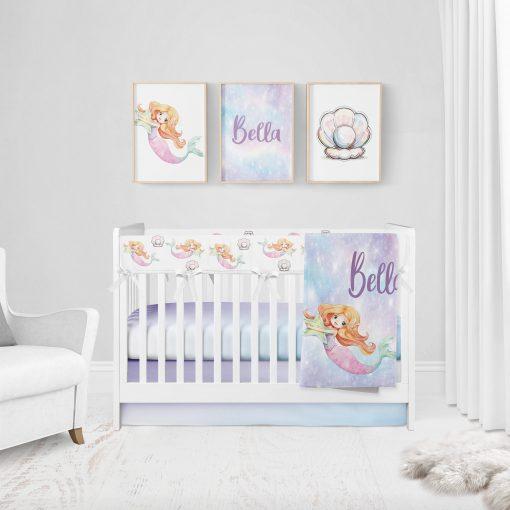Mermaid Nursery, Baby Blanket, Girl Crib Bedding Set Girl, Personalized Sheet, Fitted Blanket