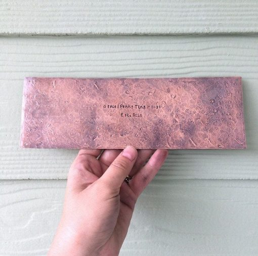 Metal House Plaque - Custom & Personalized Rustic Copper Hammered Sign Understated Primitive Address Placard Unique Housewarming Gift