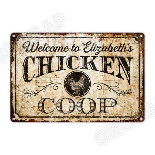 Metal Wall Sign Or Canvas Print, Custom Sign, Farmhouse Hen House Chicken Coop, Rustic Home Decor, Personalised Gifts