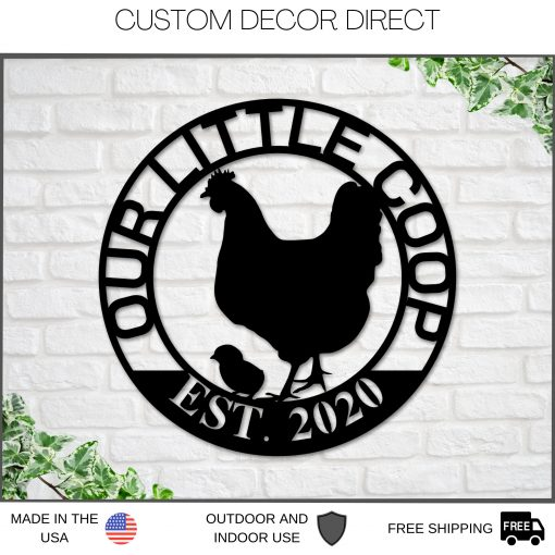 Mothers Day Gift, Personalized Gift, Gift For Mom, Our Little Coop Sign Metal Sign, Chicken