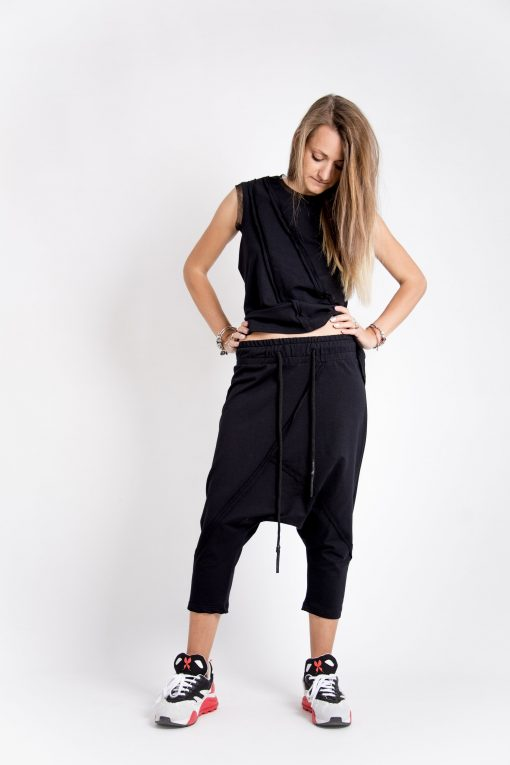 Organic Capri Harem Pants Women, Black Samurai Pants, Cotton Womena Djustable Elastic Waist Drop Crotch