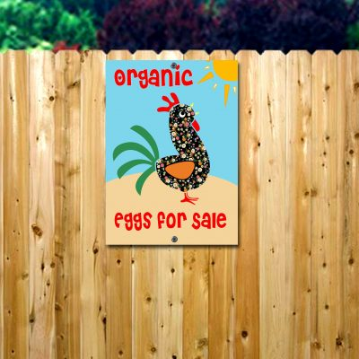 "Organic Egg Sign/Metal ""Eggs For Sale"" Sign/Farm Sign/Folk Art Chicken Kitchen/Organic Eggs Sale/Chicken Coop Sign"