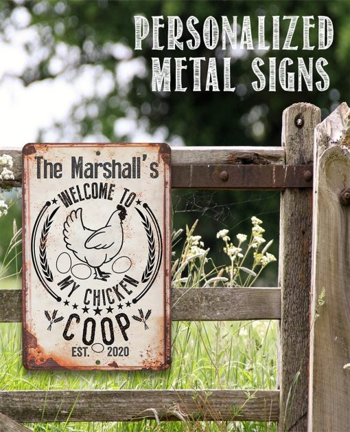 """Personalized-My Chicken Coop - 8"""" X 12"""" Or 18"""" Aluminum Tin Awesome Metal Poster"""