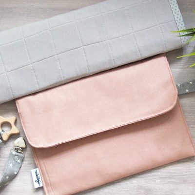 Pink Linen Diaper Clutch & Change Mat, Travel Pad, & Wipes Case, Bag Organizer, Baby Changing Small