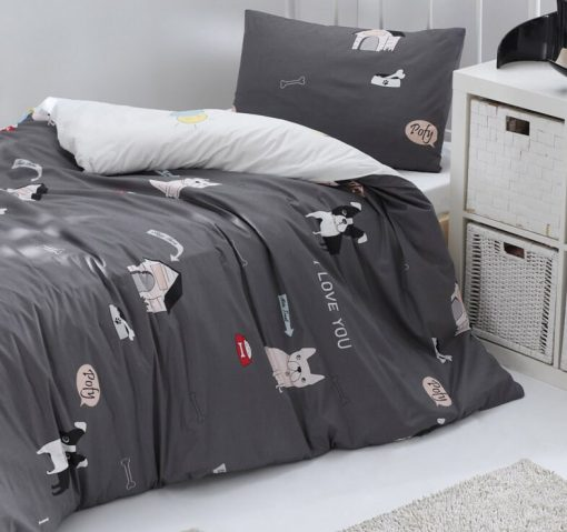 Pure Cotton Queen - Twin Dogs Bedding Set/Boys Duvet Cover Reversible Dog Kids 2 Sided Quilt