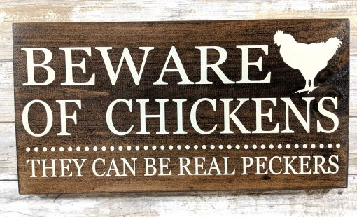 """Rustic """"Beware Of Chickens"""" Wood Farmhouse Chicken Coop Sign Decor, Sign, Farm Humor, Handpainted"""