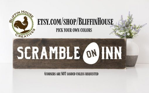 Scramble On Inn Chicken Coop Sign, Lovers Sign For Coop, Fresh Eggs, Funny Farmhouse