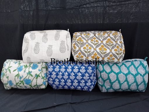 Set Of 5 Pcs Makeup Bag - Quilted Block Printed Cosmetic Women Toiletry Bag Fabric Travel Pouch