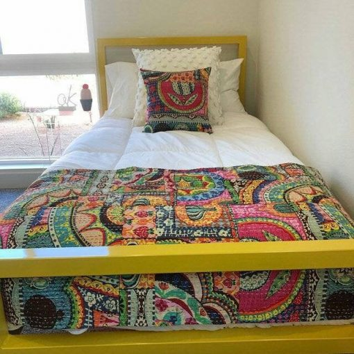 Stunning Vintage Master Rare Piece Kantha Throw Quilt Fruit Print Multi Color Bedspread Gudri Hand Stitched Pure Cotton King Size Blanket