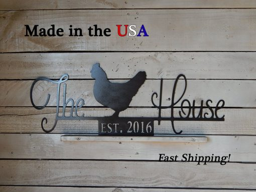 The Chicken House Sign, Smaller Hen Coop Established Date Any, Decor, Farm/Barn S1193