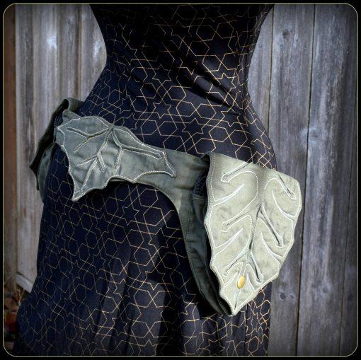 Utility Belt Bag, Hip Pouch, Ren Faire Pocket Belt, Fantasy Clothing, Elven Pixie Cosplay Vegan Cotton, Leaf, Renaissance Festival