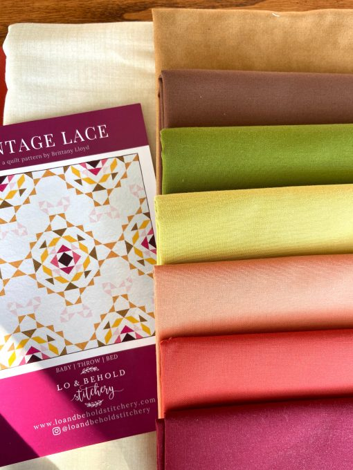 Vintage Lace Quilt Kit With Autumn Solids From Moda