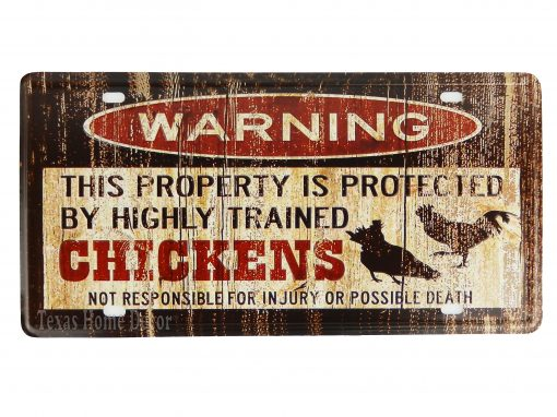 Warning Sign License Plate Metal Property Protected By Highly Trained Chickens