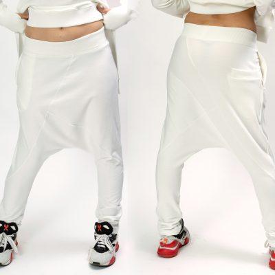 White Organic Harem Pants Women Plus Size Clothing, Loose Women, Drop Crotch Pants, Sailor