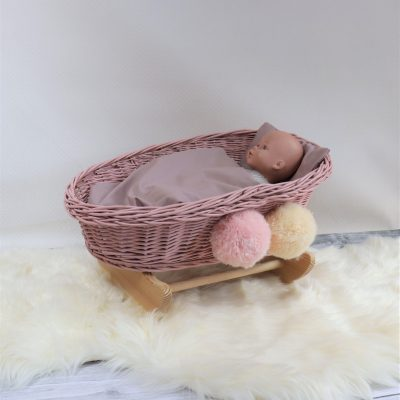 Wicker Cradle For Dolls Dirty Pink With Pompoms Christmas Gift Kids