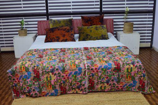 Kantha Quilts, Handmade Quilted Printed Quilt , Floral Designs Twin/Queen Size