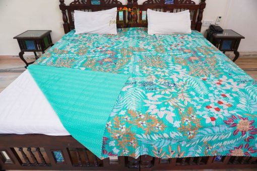 Handmade Rajasthani King Size Kantha Throw Quilt With Floral Print Bedspread Luxury Bedding Twin Sided Blanket Pure Cotton Smooth Touch