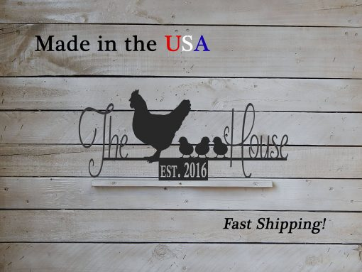 The Chicken House Sign, Hen With Chicks, Coop Established Date Any, Decor, Farm/Barn S1235
