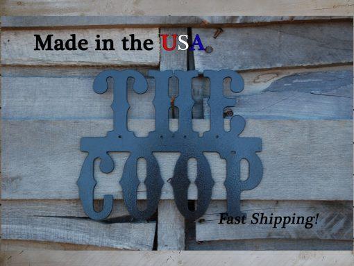 The Coop, Chicken Decor, Lawn Barn Western Font, Kitchen Metal Saying, Farm Wall Art, Coop De Ville, S1029