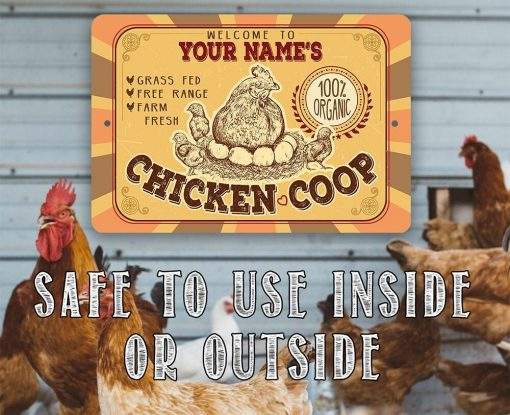 """Personalized Metal Sign - Chicken Coop Tin -8x12 Or 12""""x18"""" Indoor/Outdoor -Great Gift & Decor"""""""