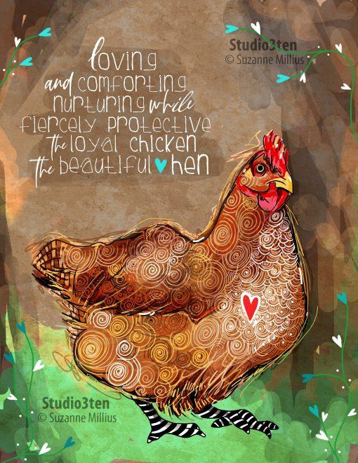 Chicken Print, Hen Chicken Lover, Art With Chicken, Hens, Art, Symbolism, Poem, Coop
