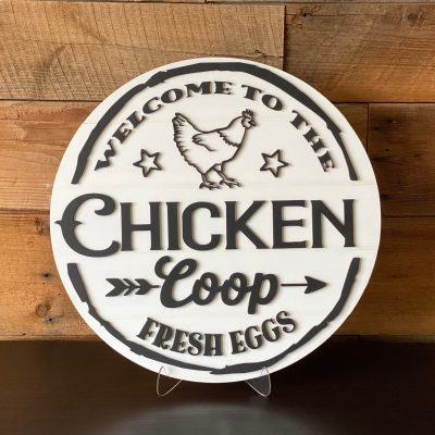 Welcome To The Chicken Coop 18 Round Shiplap Sign
