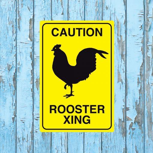 Rooster Crossing Metal Sign, Chicken Coop Kitchen Decor