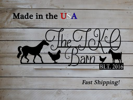 Family Farm Sign With Horse, Goat & Chickens, Chicken Decor, Horse Sign, Est. Date, Established, Metal, Barn S1177