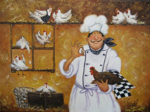 Chicken Chef Art Print Fat Chefs Chef Art Kitchen Wall Egg Farmer, Funny, Roosters, Chicken Coop, Whimsical