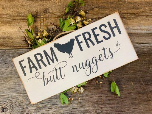 Farm Fresh Butt Nuggett's, Chicken Sign, Funny Farmhouse, Coop, Kitchen Lover, Nesting Box, Humor