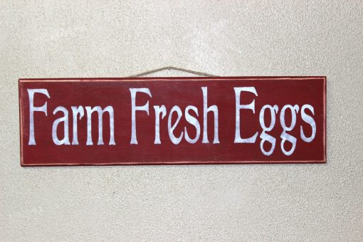 Farm Fresh Eggs - Painted Wooden Sign Hand Painted Red & White Chickens Chicken Coop Farmhouse Decor Homestead Egg Sign